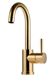Basin faucet with high turnable spout. The faucet can also be used in small kitchen sinks. To be combined with pop up waste Read more about our surfaces. Note - the Rose Gold surface is temporarily suspended due to production issues. Small Kitchen Sink, Gold Kitchen, Kitchen Sinks, Brass Tap, Basin Mixer, Butler Pantry, Beautiful Bathrooms, Messing, Evo