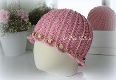 Crochet Summer Hat Pattern, Shells and Roses Cloche Hat for Girls, Size 3-5 Years Old, Crochet Pattern by olgascrochetfrenzy on Etsy https://www.etsy.com/listing/287049659/crochet-summer-hat-pattern-shells-and