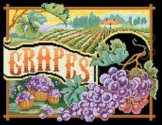 Beautiful Cross Stitch Patterns | Cross Stitch Pattern Grapes From Kooler Design Studio
