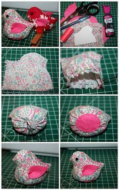 little bird tutorial! This would be great for a pin cushion! good early project