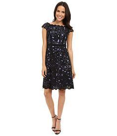NUE by Shani Fit & Flare Laser Cutting Dress w/ Side Neckline