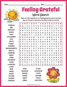 Free Printable Gratitude Word Search