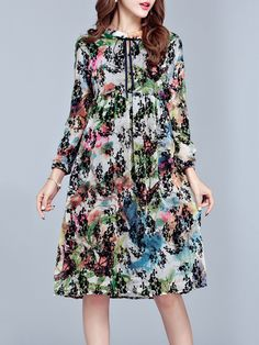 Hot-sale Casual Floral Printed A-Line Long Sleeves Dresses For Women{ - NewChic Mobile.