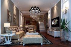 lustre classique à abat-jours noirs et meubles de style art déco dans le salon