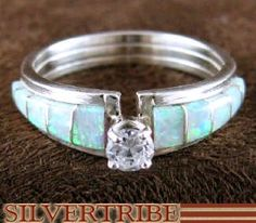 Zuni Indian Jewelry Opal Inlay Genuine Sterling Silver Ring Size 8-1/2 AS49668