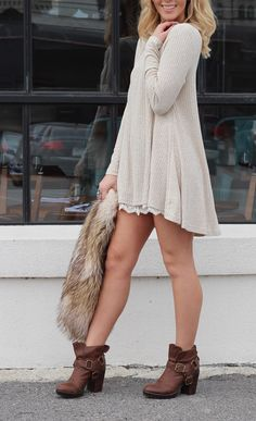 Off white long sleeve ribbed sweater dress with lace trim detail - Cotton, Polyester - Runs true to size - Model is wearing a Small Cozy Clothes, Autumn Clothes, Cute Vacation Outfits, Sadies Dress, Cute Cheap Outfits, Contemporary Clothing, Cute Clothes For Women, Comfy Dresses, Ribbed Sweater
