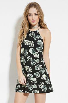 Palm Leaf Print Mini Dress Forever 21