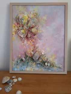 Abstract art Flower nature* Signed Framed Sunny day, Ready to Hang, Textured, Dreamy, Seashells art, Romantic, Love * Nature, Earth, Flower450,62 ₪