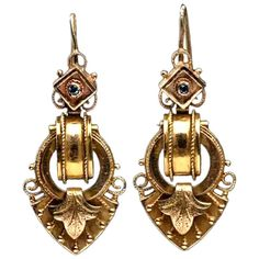 For Sale on - A pair of Renaissance Revival style drop earrings set in 14 Karat yellow gold. Circa Each earring featuring a diamond shaped top embellished Diamond Drop Earrings, Silver Drop Earrings, Victorian Gold, Vintage Diamond Rings, Diamond Shapes, Custom Jewelry, Earring Set, Renaissance, Jewelry Rings