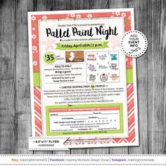 Event Flyer Printable | PTA Fundraiser | PTN | Pallet Paint Night | School Flyer | Education | Teach