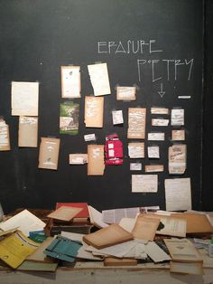 erasure poetry wall sponsored by Wave Books