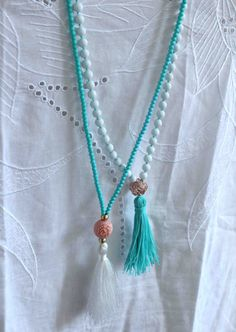 Aqua Necklace White Beaded Necklace Tassel by lizaslittlethings