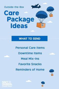 Navy Federal Credit Union offers ideas and tips for assembling a creative care package to send to someone who's deployed. Soldier Care Packages, Homeless Care Package, Blessing Bags, Deployment Gifts, Healthy Oils, Service Projects, Military Life, Diy Craft Projects, Giving