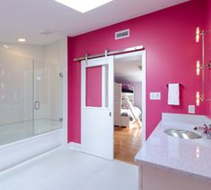 Hot Pink Wall Complete With White Barn Door By Houzz Bathroom Renovations