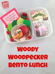 Woody Woodpecker Bento Lunch for my daughter. This is made in an @EasyLunchboxes container with a @Lunchbox Love from Say Please note! #bento #woodywoodpecker