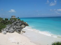 Tulum beach under the ruins..been on this beach <3