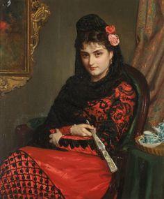 John Bagnold Burgess.  Portrait of Spanish Lady in Mantilla with Fan
