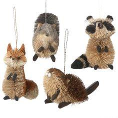 Buri Woodland Animal Ornaments, Natural, 3-1/2-Inch, 4-Pack