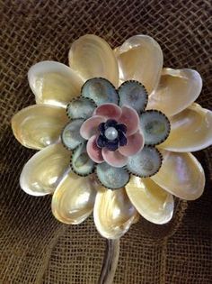 Buttercup Seashell Flower all Natural Color by SeaThingsVentura Seashell Ornaments, Seashell Art, Seashell Crafts, Seashell Projects, Shell Flowers, Shell Decorations, Craft Images, Painted Shells, Sea Crafts
