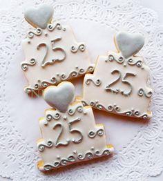 25th Wedding Anniversary Cake Cookie