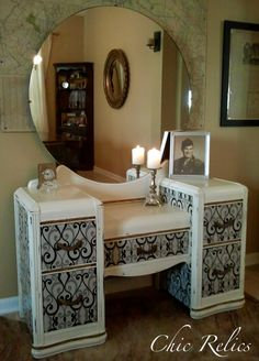 """Pearl"" A beautiful updated waterfall vanity with mirror!  http//chicrelics.blogspot.com"