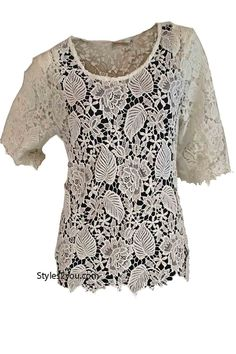 Ada Vintage Lace Over Blouse In White, Womens Clothes, Vintage Womens Clothing, Boho, Boho Chic, Clothes for Ladies from Styles2you.com