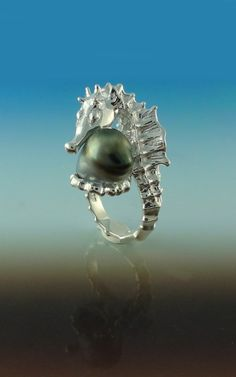Seahorse Ring With Tahitian Pearl In Sterling Silver