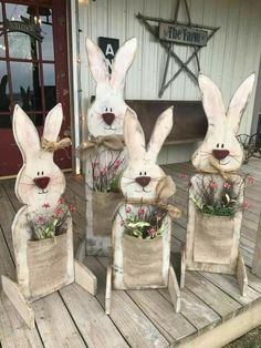 Wood Easter bunnies