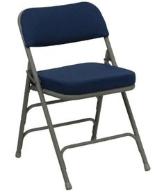 Lowest price online on Flash Furniture Hercules Series Premium Curved Triple Braced & Quad Hinged Navy Fabric Upholstered Metal Folding Chair Best Folding Chairs, Outdoor Folding Chairs, Folding Tables, Folding Furniture, Outdoor Lounge, Metal Frame Chair, Eames Chairs, Recliner Chairs, Quartos