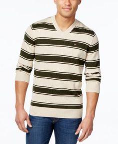 TOMMY HILFIGER Tommy Hilfiger Men'S Striped V-Neck Sweater. #tommyhilfiger #cloth # sweaters