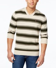 TOMMY HILFIGER Tommy Hilfiger Men'S Striped V-Neck Sweater. #tommyhilfiger #cloth # sweaters