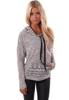 Lime Lush Boutique - Grey Aztec Print Detail Hoodie, $39.99 (http://www.limelush.com/grey-aztec-print-detail-hoodie/)
