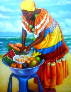 Diamond Painting Beach Fruit African Woman Paint with Diamonds Art Crystal Craft Decor Black Women Art, Black Art, Arte Latina, Latino Art, Afrique Art, Urbane Kunst, Haitian Art, Cuban Art, Caribbean Art