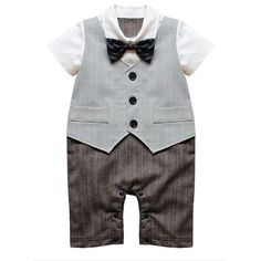 Baby Boy Formal Wedding Waistcoat 1pc Outfit Suit With Bow Tie ($16) ❤ liked on Polyvore featuring baby and kids