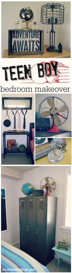 Eclectic Teen Boys Bedroom. Top photo so cool for a vintage/industrial boys bedroom.such as for a bedside table.