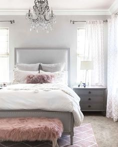 Home Interior Decoration 40 Grey and White Bedroom Ideas.Home Interior Decoration 40 Grey and White Bedroom Ideas Master Bedroom Interior, Modern Bedroom, Trendy Bedroom, Pink Master Bedroom, Feminine Bedroom, Master Bedrooms, Bathroom Interior, Pink Bedrooms, My New Room