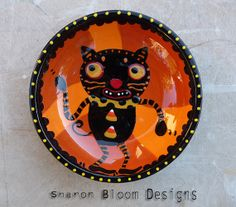 Halloween Ceramic Dancing Black Cat Bowl by Sharon by sharonbloom, $40.00