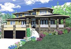Prairie style house designed for a front sloping lot