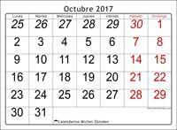 Calendario octubre 2017, Oseus