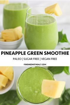 You'll flip over this tasty and creamy dairy free Pineapple Green Smoothie! Perfect for a quick snack or easy on the go pick me up! #finishedwithsalt #smoothie #fruitsmoothie #pineapple #dairyfree #vegansmoothie #vegan #paleosmoothie #paleo #beverage #breakfast #fuel #greenjuice #greensmoothie | finishedwithsalt.com