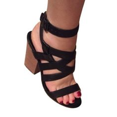 Lowest price ever ♦️Steven Black Strappy Heels Like new Steven by Steve Madden black Strappy heels with wood heel size 6 Steven by Steve Madden Shoes Sandals