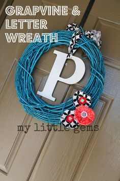 My Little Gems: New Front Door Wreath Idea {for less than $2}
