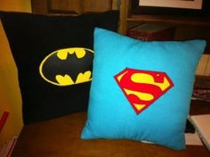 Batman and Superman Pillows by TheDomesticNerd on Etsy, $25.00
