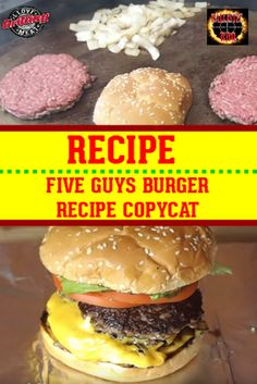 Five Guys Burger Recipe Homemade Burger Patties, Best Homemade Burgers, Homemade Hamburgers, Guys Burgers Recipe, Best Burger Recipe, Classic Burger Recipe, Diner Burger Recipe, Grilled Burger Recipes, Grilled Cheeses