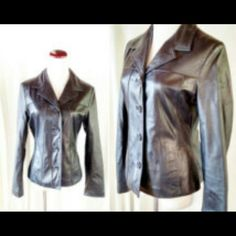 Dark Brown Genuine Leather coat- like new! Wilsons leather, dark brown genuine leather jacket. Blazer/fitted cut. Button down. Womens XL very good condition. Measurements in comments Wilsons Leather Jackets & Coats Blazers