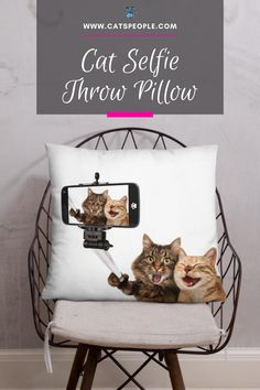 This cute throw pillow is the purrfect way to add a splash of cat humor into your home decor. The unique, funny design and soft material make this piece a must have for all cat owners and cat lovers. This throw pillow that will spark humor in every cat parent's mood! #catloverpillow #funnycat #catlovergift #funnycatlovergift #catloverhomedecor #catselfie #catmompillow #catdadpillow Cat Lover Gifts, Cat Gifts, Cat Lovers, Cat Design, Funny Design, Cat Selfie, Cat Pillow, Unique Cats, Cat Dad