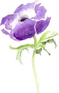 Blue Flower Anemone Watercolor Greetings Card, Watercolour Art, Watercolor Note card Blank Inside by Hercio Dias