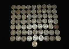 """Approx 60 half dollars incl """"1936"""", """"1937"""", """"1939"""", """"1940"""", """"1941"""", """"1942"""", """"1943"""", """"1944"""", """"1944"""", """"1945"""", """"1946"""", """"1948"""", """"1950"""", """"1951"""", """"1952"""", """"1953"""", """"1954"""", """"1956"""", """"1957"""", """"1958"""", """"1959"""", """"1960"""", """"1962"""", """"1963"""", etc.  Coins, Jewelry & Paper Money Auction ending 6/5/13"""