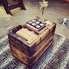 Vintage trunk coffee tables. #Interior