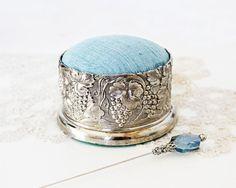 Vintage Silverplate Pincushion via Etsy
